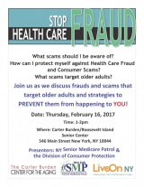 February 16th, Stop Health Care Fraud / Carter Burden/RI Senior Center