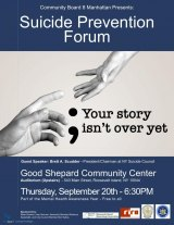 September 20th, Suicide Prevention Forum, Howe Theatre, Cultural Center