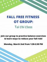 Monday, March 2nd, Tai Chi for Balance, Reduced Fall Risk: OT Students, CBN/RI Senior Center