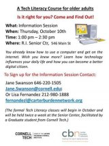 October 10th, Information Session, Tech Literacy for Older Adults: CBN/RI Senior Center