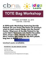 October 22nd, Tote Bag Workshop, CBN/RI Senior Center