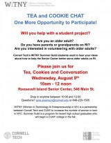 August 9th, CBN/RI Senior Center, You're Invited for Tea, Cookies and Sharing Your Thoughts