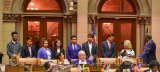 Assembly Member Rebecca Seawright ushered Jim Luce and this years class of Young Global Leaders into the New York legislative chamber.