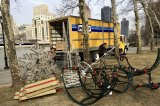 The Roosevelt Island Christmas Tree reduced to pieces and headed off to storage..