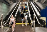 Saturday, July 27th, 2019, all escalators broken at upper level in Roosevelt Island Subway Station. No repairs in progress.