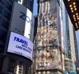 New York's largest vinyl mural at One Times Square, the work of Domingo Zapata.
