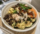"My ""Your World Bowl"" in the café at Cornell Tech. Pick between rice and salad bases."