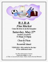 May 27th, 9:30 a.m. - 4:30 p.m., Good Shepherd Plaza, Flea Market benefits the RI Disabled Association