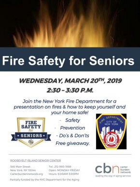March 20th, Fire Safety for Seniors with FDNY, CBN/RI Senior Center