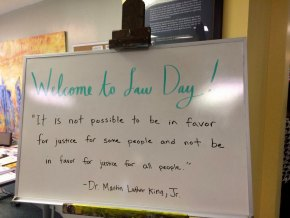 A welcoming sign strikes a keynote with a quote from Dr. Martin Luther King.