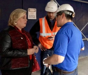 Assembly Member Rebecca Seawright at the scene of the 91st Street Waste Transfer Station Fire, yesterday.