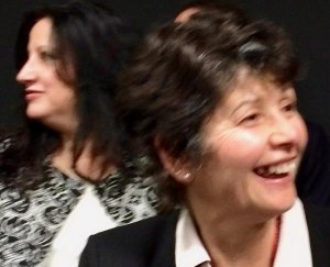 Quinones (L) at her first Board Meeting in March, 2016, with outgoing President Charlene Indelicato.
