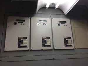 Multiplex meters inside a Manhattan Park utility closet.