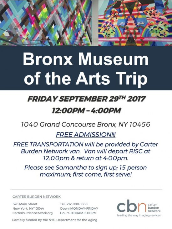 Sept. 29th, CBN/RI Seniors Off Again to the Bronx Art Museum