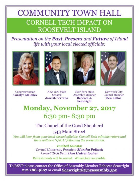Monday, November 27th, Town Hall-Cornell Tech Impact, 6:30 - 8:30 Good Shepherd Community Center