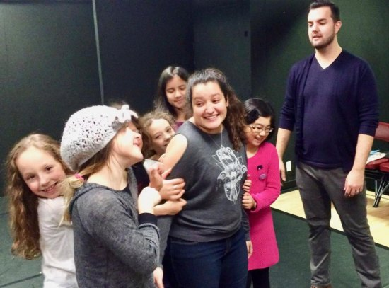 Kaitlyn Abdul with the Children's Ensemble in Rehearsal for the Roosevelt Island Holiday Spectacular