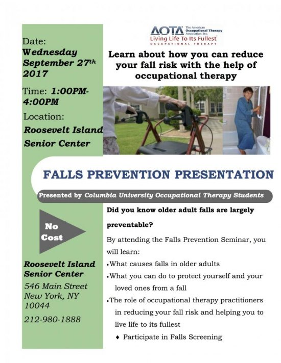 Wednesday, September 27th, How To Prevent Falls, 1:00 to 4:00 P.M., Senior Center, 546 Main Street
