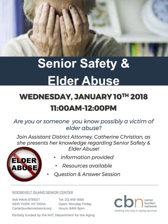 TODAY, 11:00 A.M., Senior Safety and Elder Abuse, CBN/RI Senior Center, 546 Main Street