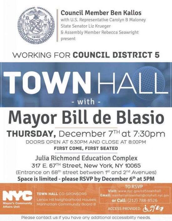 Thursday, December 7th, Ben Kallos Town Hall with Mayor Bill de Blasio