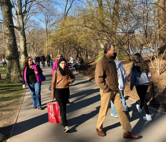 Forsythia in bloom, strollers in Central Park enjoy a early spring after a very mild winter.