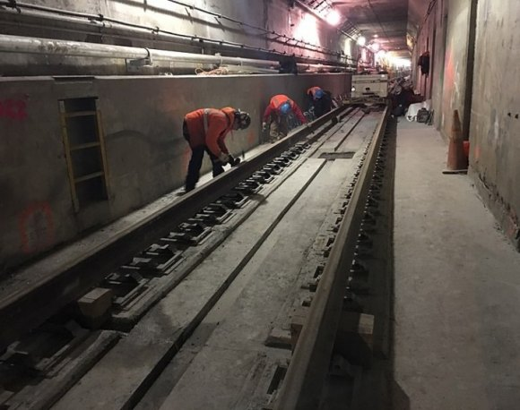 The 63rd Street's lower ghost tunnel, under construction, 50 years later.