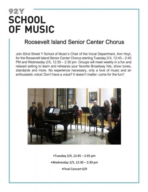 Tuesdays/Wednesdays: 92nd Street Y Gift of Music, Senior Chorus, CBN/RI Senior Center