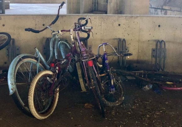 Still unaddressed, public spaces are being used as abandoned bicycle junkyards.