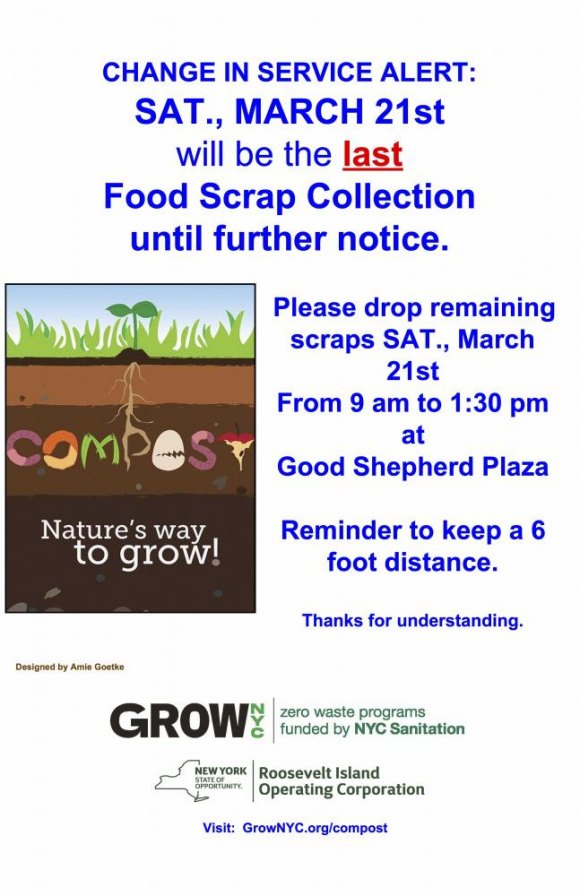 Saturdays: Roosevelt Island Food Scrap Drop Off