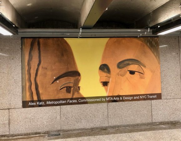 """Metropolitan Faces,"" one of a series by Alex Katz commissioned by the MTA for this station."
