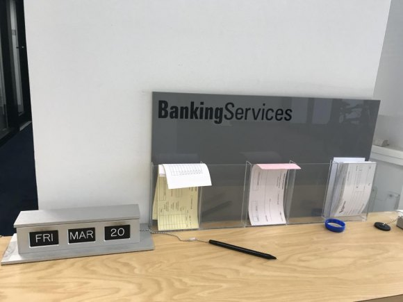 Sad reminder, the banking services counter at Amalgamated froze on the date of the coronavirus shutdown.