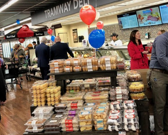 One of several sections offering a variety of baked goods, from bagels to sandwich breads.