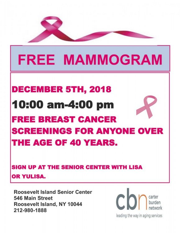 Free Breast Cancer Screening, December 5th, CBN/RI Senior Center