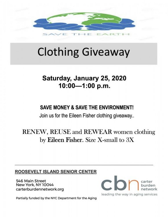 Saturday, January 25th, Eileen Fisher Clothing Giveaway
