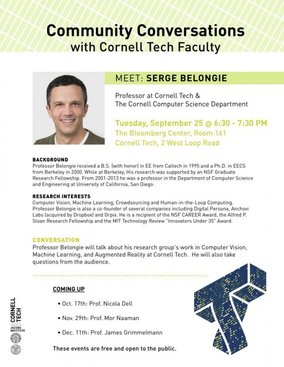 Tuesday, Serge Belongie, Community Conversation with Cornell Tech Faculty