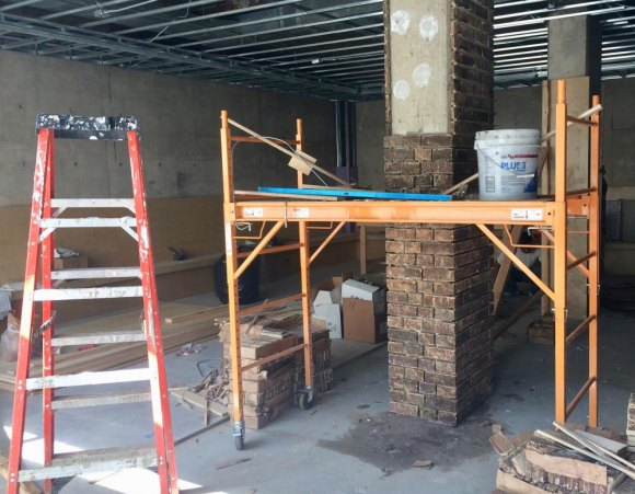 Interior construction underway for café and wine bar at 501 Main  Street.