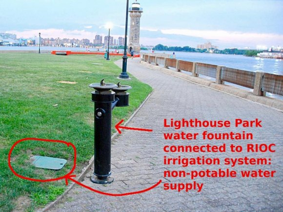 Water not fit for human or animal consumption... Lighthouse Park, Roosevelt Island