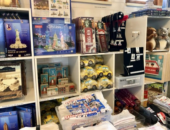Something for everyone, shelves filled with New York and Roosevelt Island themed gifts and souvenirs.