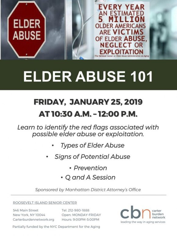 January 25th, Elder Abuse 101, CBN/RI Senior Center