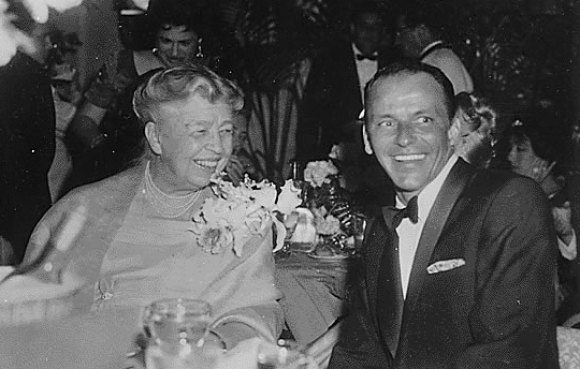 Eleanor Roosevelt with a fan, Frank Sinatra.