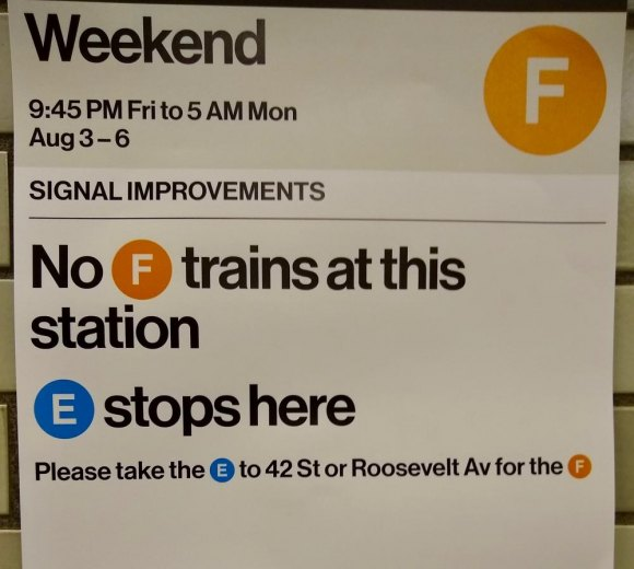 F Trains Again Do the Weekend Switcheroo with E Trains