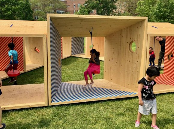 Kids swing, inside and outside the boxes.