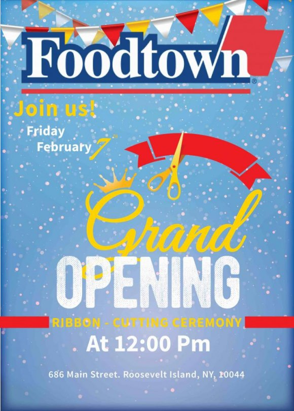 You're Invited for Roosevelt Island Foodtown's Ribbon-Cutting, Noon on Friday