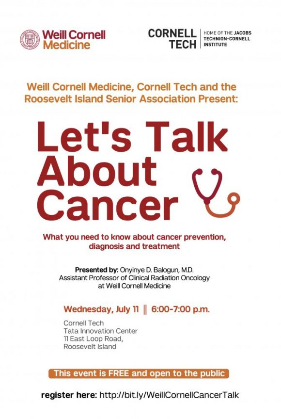 July 11th, Let's Talk Cancer, Tata Innovation Center, Cornell Tech