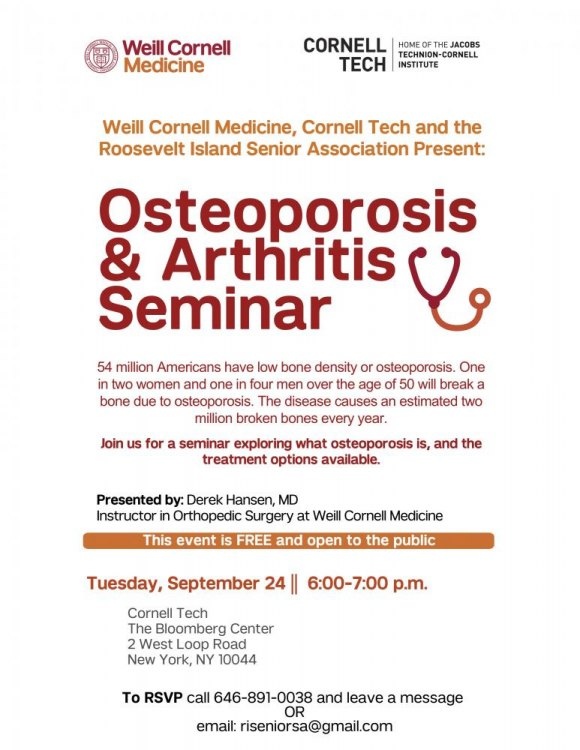 September 24th, Free Osteoporosis & Arthritis Seminar @ Cornell Tech