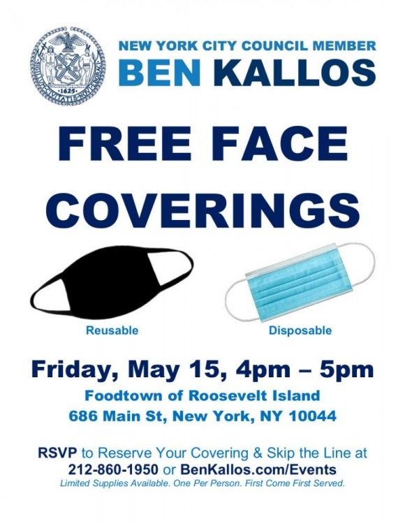 Free Face Coverings, Thanks to Ben Kallos, Friday @ 4:00