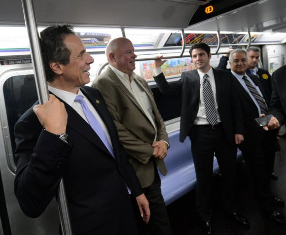 Governor Cuomo proudly rides the new 2nd Avenue Subway, last year.