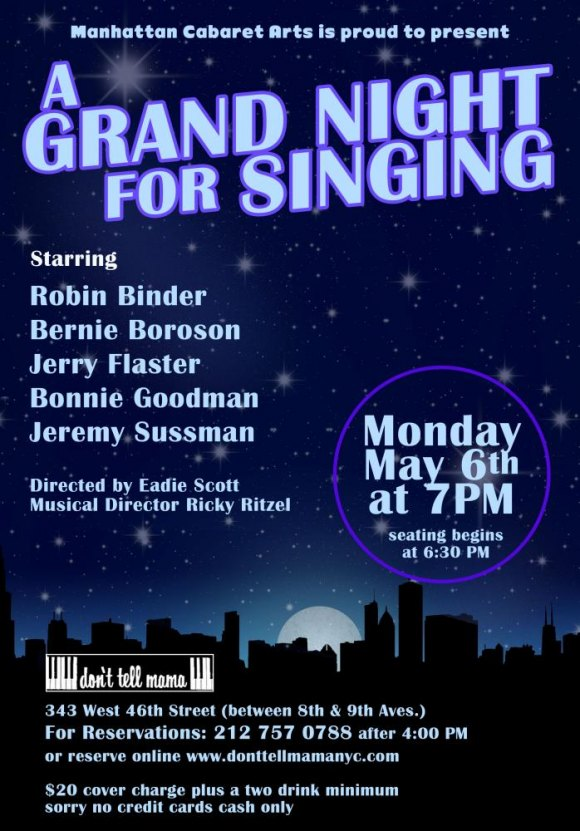"May 6th, Roosevelt Island's Bonnie Goodman in ""A Grand Night for Singing"""