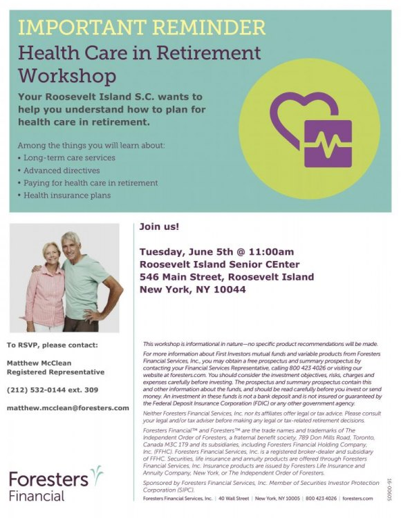Tuesday, June 5th, Free, Health Care in Retirement Workshop