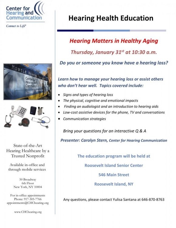 January 31st, Hearing Matters in Healthful Aging