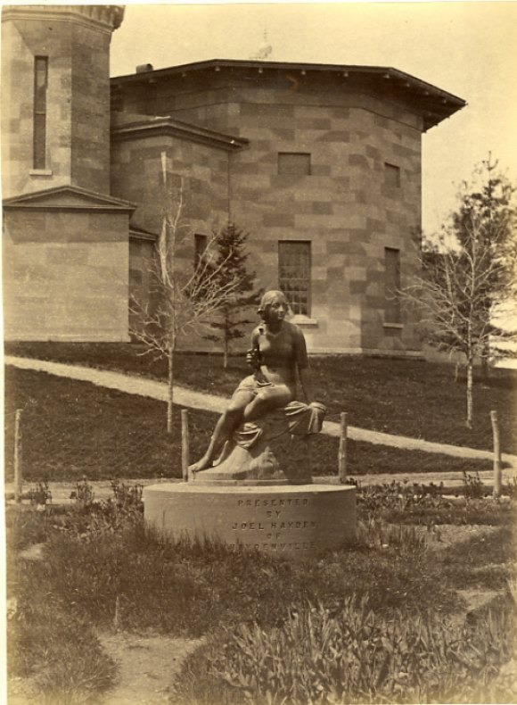 Sabrina, Goddess of the Britons, in its original location - behind the Octagon on the Amherst College campus.